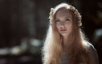 girl, blonde, look, model, hair, face