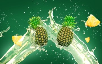 фрукты, брызги, всплеск, зеленый фон, ананас, сок