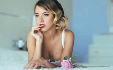 girl, flower, rose, look, hair, face, hands, red lips, nadia burra
