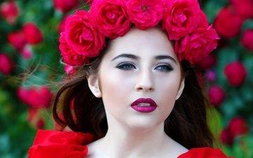 цветы, брюнетка, взгляд, модель, лицо, венок