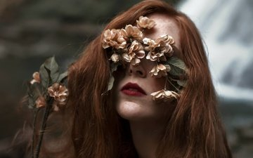 flowers, girl, background, hair, lips, face, makeup, freckles, aleah michele