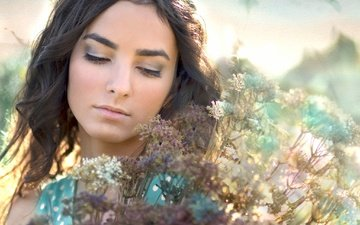 цветы, девушка, настроение, портрет, лицо, макияж