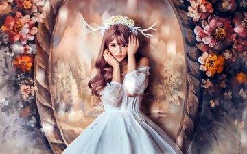 цветы, девушка, платье, взгляд, фэнтези, фея, волосы, лицо, рога