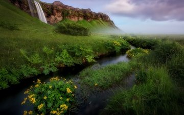 the sky, flowers, grass, clouds, river, nature, landscape, mountain, waterfall