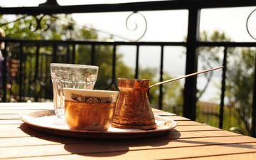 напиток, утро, кофе, терраса, турка