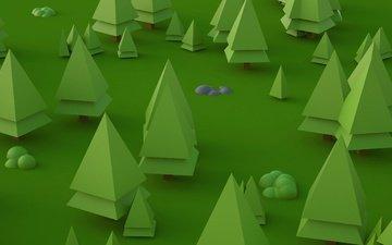 деревья, природа, абстракция, лес, зелёный, вектор, цвет, графика, ель