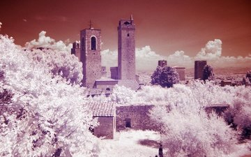 trees, tower, italy, tuscany, infrared the, san gimignano