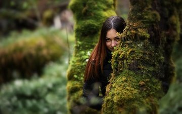 деревья, девушка, взгляд, мох, волосы