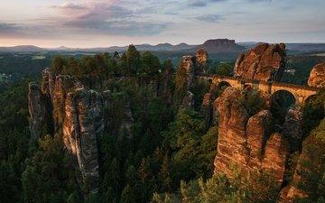 деревья, горы, скалы, природа, камни, лес, пейзаж, мост, ели, арка, германия