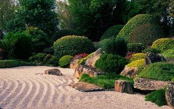 деревья, камни, зелень, дизайн, парк, кусты, сад, австралия, гравий