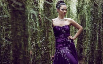 trees, forest, girl, dress, look, model, face, thickets