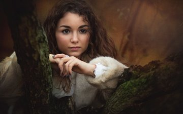 tree, girl, mood, look, curls, face, hands, coat