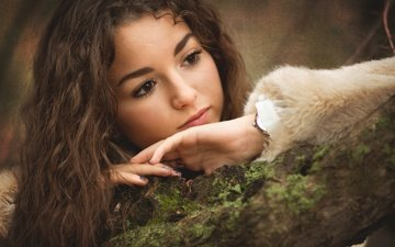 tree, girl, mood, look, moss, hair, face