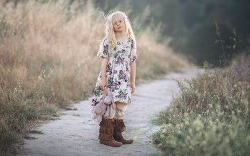 dress, look, children, path, girl, toy, hair, face, boots, bunny, edie layland