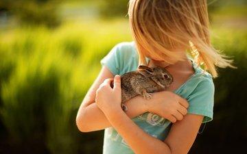 girl, hair, face, rabbit, animal, tenderness, friends