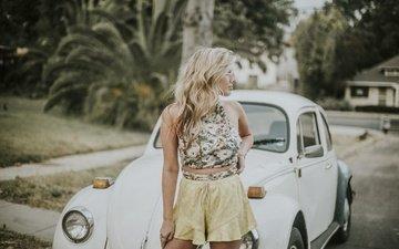 девушка, блондинка, машина, очки, улица, модель, профиль, автомобиль