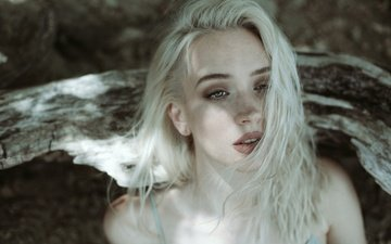 girl, blonde, portrait, look, model, hair, lips, bare shoulders