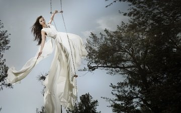 деревья, девушка, фон, платье, ветки, модель, волосы, позирует, качели