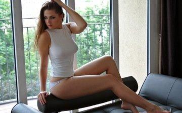 girl, background, pose, model, legs, window, figure, mike, evgenia