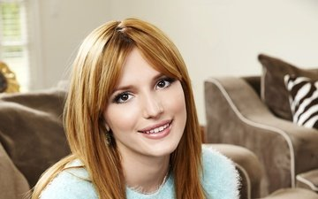 girl, background, smile, face, sweater, bella thorne