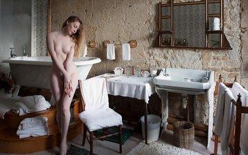 girl, background, model, chest, bath, naked