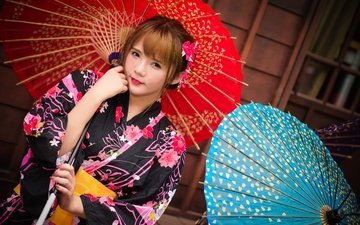 девушка, взгляд, волосы, лицо, кимоно, азиатка, зонтики