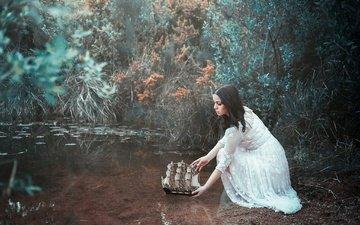 nature, girl, mood, brunette, ship, pond, white dress