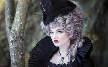 стиль, девушка, ретро, костюм, парик, макияж, шляпка, шляпа