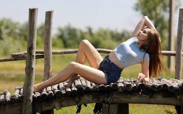 мостик, девушка, поза, лето, модель, ножки, волосы, шорты, murat kuzhakhmetov
