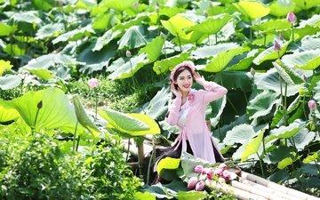 цветы, девушка, улыбка, лето, азиатка, лотосы