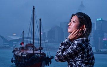 girl, mood, ship, the city, profile, asian