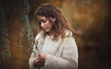 girl, mood, background, branches, coat