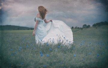 the sky, flowers, grass, clouds, girl, mood, dress, meadow, cornflowers, redhead, miss froggi