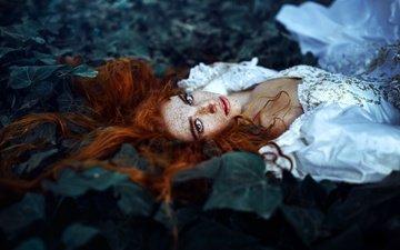 девушка, настроение, платье, взгляд, волосы, веснушки, рыжеволосая, конопатая, ronny garcia