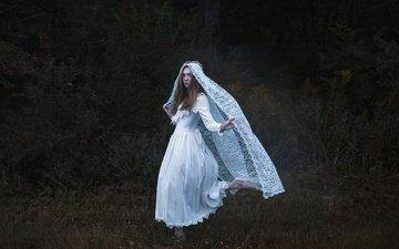 ночь, девушка, настроение, сад, белое платье, невеста, фата, aleah michele