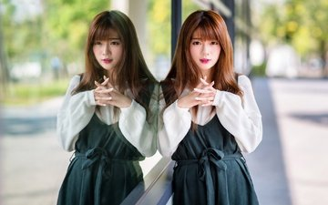 девушка, отражение, взгляд, волосы, азиатка
