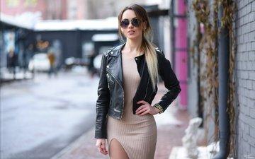 girl, dress, pose, glasses, model, jacket, photoshoot, leather jacket