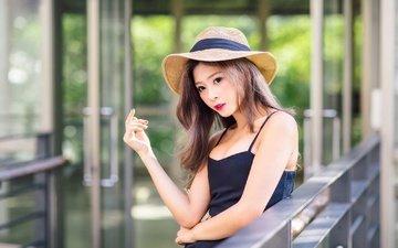 девушка, платье, взгляд, модель, лицо, макияж, шляпа, азиатка