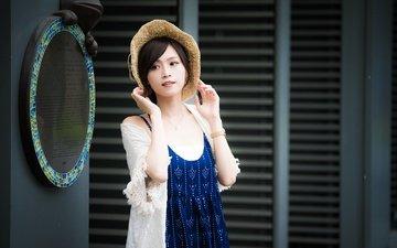 девушка, платье, взгляд, модель, лицо, шляпа, азиатка