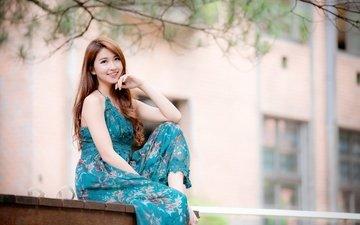 девушка, платье, улыбка, волосы, азиатка