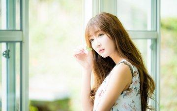 girl, dress, hair, leaf, asian