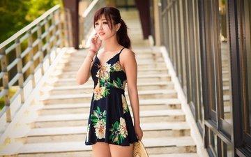 лестница, ступеньки, девушка, платье, портрет, азиатка