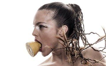 girl, portrait, look, profile, lemon, face, makeup, mouth, braids