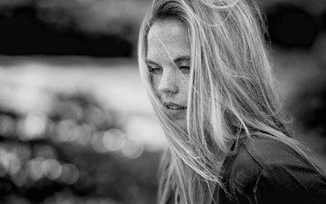 girl, portrait, black and white, hair, face, freckles, nadia, mike kremer