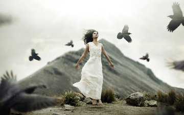girl, mood, pose, the situation, birds, asian, white dress
