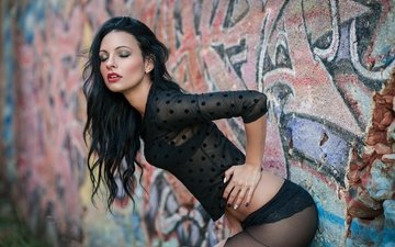 girl, pose, brunette, wall, ass, tights, model, photoshoot, black lingerie, closed eyes, ela green, painted nails, al green
