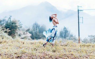 nature, girl, pose, field, skirt, hair