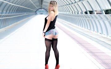 girl, pose, shorts, ass, stockings, figure, shoes, red shoes