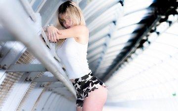 girl, pose, shorts, look, figure