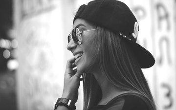 girl, smile, glasses, black and white, profile, teeth, baseball cap